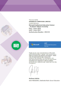 Result IT's certificate from Microsoft's Authorized Education Partner network.